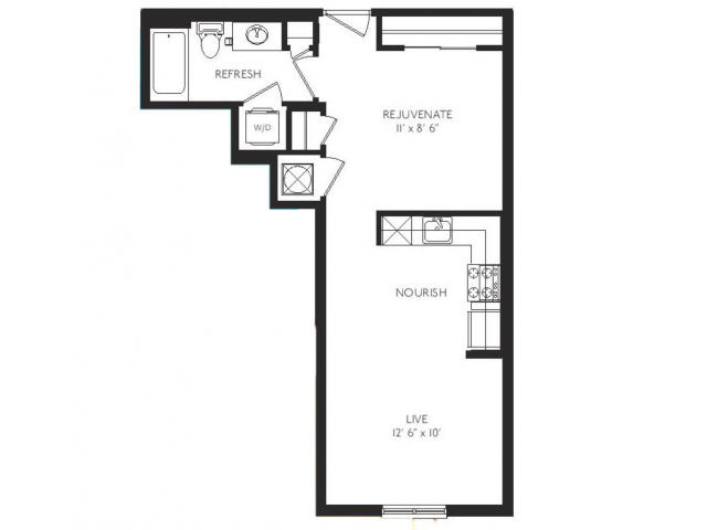 The Expressionist Floor Plan | Studio with 1 Bath | 562 Square Feet | Cottonwood Bayview | Apartment Homes