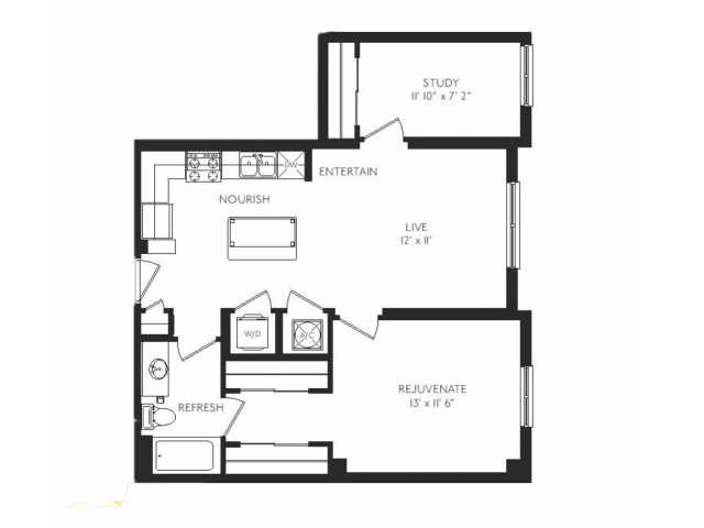 The Celadon Floor Plan | 1 Bedroom 1 Bath | 840 Square Feet | Cottonwood Bayview | Apartment Homes