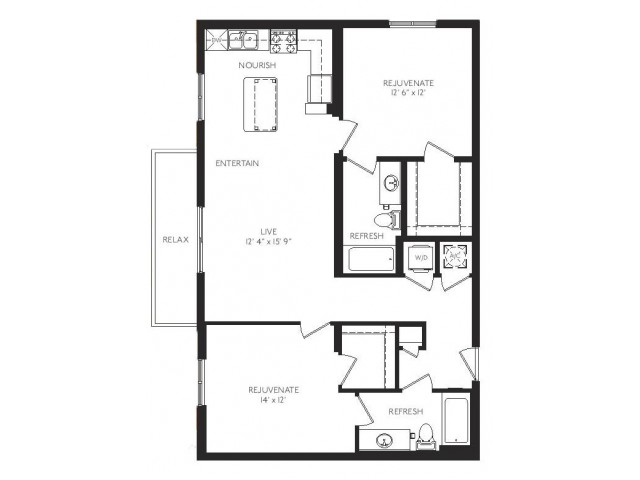 The Noveau Floor Plan | 2 Bedroom 2 Bath | 1078 Square Feet | Cottonwood Bayview | Apartment Homes