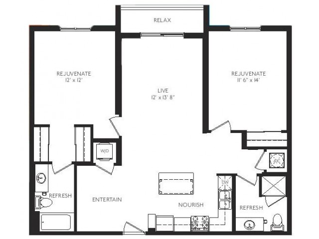 The Renaissance Floor Plan | 2 Bedroom 2 Bath | 1098 Square Feet | Cottonwood Bayview | Apartment Homes