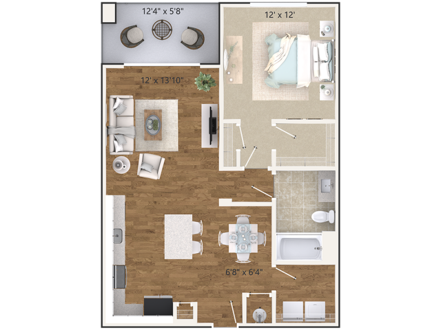 The Luna Floor Plan | 1 Bedroom 1 Bath | 818 Square Feet | Cottonwood West Palm | Apartment Homes