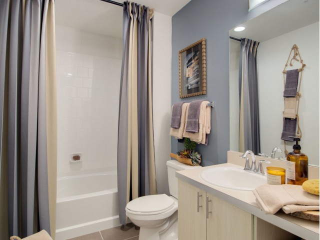 Enjoy Our Oversized Oval Soaking Tubs, With View of Single Vanity and Toilet at 935M Apartments