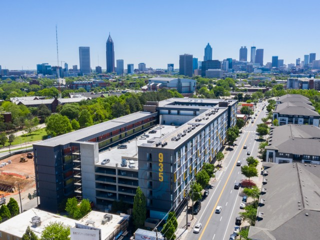 Enjoy Our Skyline Views, With View of Aerial Image of 935M Apartments Building, and West Midtown Atlanta Community at 935M Apartments