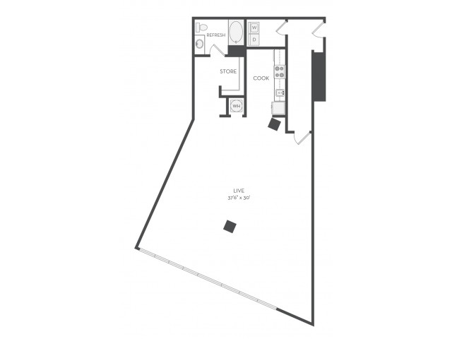 Work Westside Floor Plan | Studio with 1 Bath | 1600 Square Feet | Cottonwood Westside | Apartment Homes