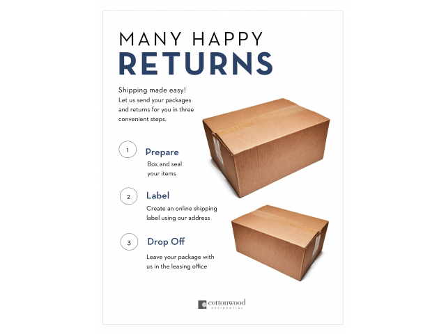 Enjoy Our Convenient Package Return Service, With Directions to Return Packages From Office at McKinney Uptown Apartments