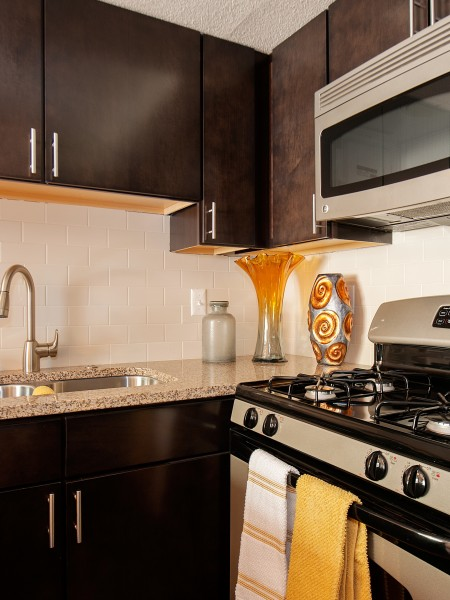 View of the Kitchen at Pavilions Apartments, Showing Double Sink, Stainless Steel Appliances, Dark Cabinetry, and Granite Style Counters