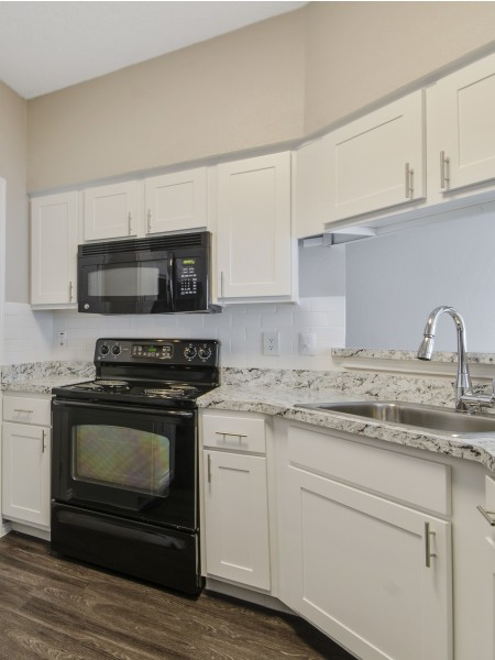 View of the Renovated Apartment Interiors at Spring Pointe Apartments, Showing Kitchen with Gas Appliances, Plank Flooring, and Oversized Sink
