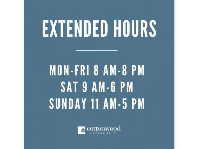 Image of extended hours at Toscana at Valley Ridge: Monday-Friday 8:00am-8:00pm, Saturday 9:00am-6:00pm, Sunday 11:00am-5:00pm