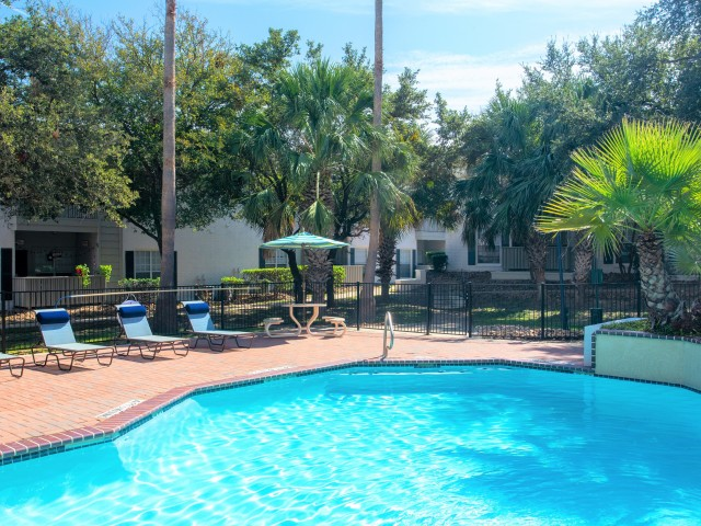 Enjoy Our Two Resort Inspired Pools, With View of Sundeck and Lounge Chairs at Blue Swan Apartments
