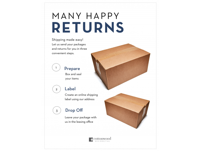 Enjoy Our Convenient Package Return Services, With Directions to Return Packages From Office at Spring Pointe Apartments