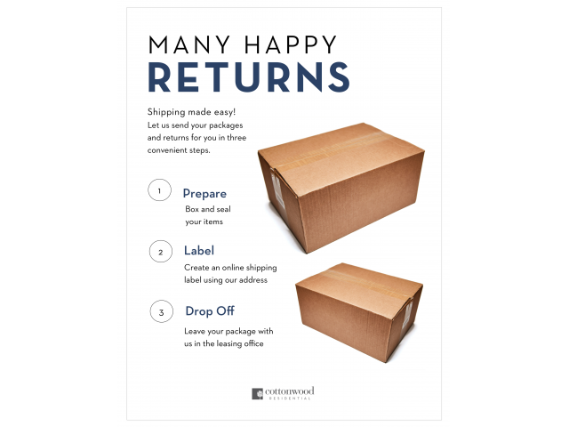 Enjoy Our Convenient Package Receiving Service, With Directions to Return Packages From Office at Retreat at Peachtree City Apartments