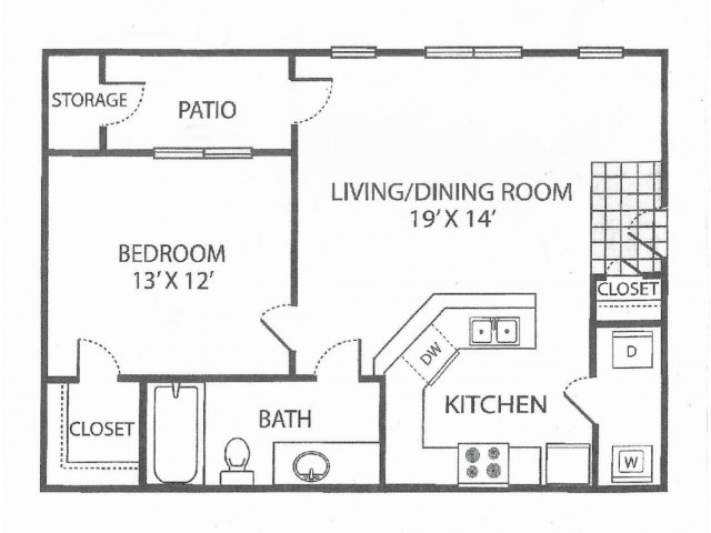 A-1 Floor Plan | 1 Bedroom with 1 Bath | 639 Square Feet | Toscana at Valley Ridge | Apartment Homes