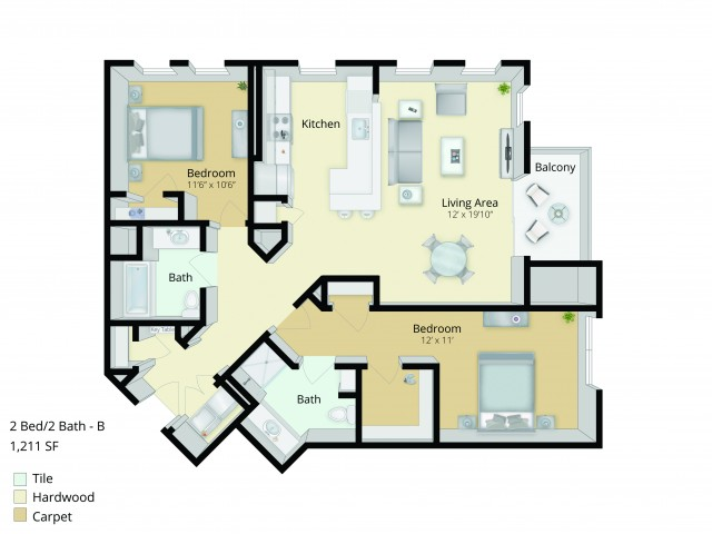 B2 Floor Plan | 2 Bedroom with 2 Bath | 1211 Square Feet | Cottonwood One Upland | Apartment Homes
