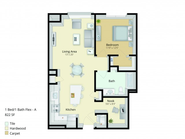 A2D Floor Plan | 1 Bedroom with 1 Bath and Den | 822 Square Feet | Cottonwood One Upland | Apartment Homes