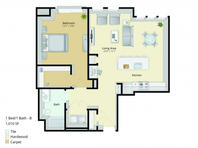 A4 Floor Plan | 1 Bedroom with 1 Bath | 1014 Square Feet | Cottonwood One Upland | Apartment Homes