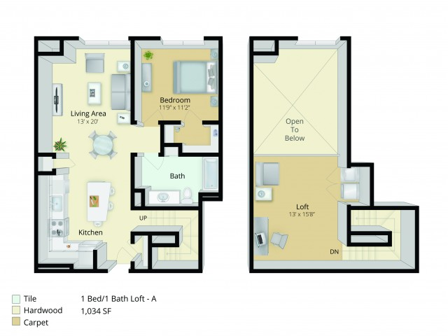 A6L Floor Plan | 1 Bedroom with 1 Bath and Loft | 1035 Square Feet | Cottonwood One Upland | Apartment Homes
