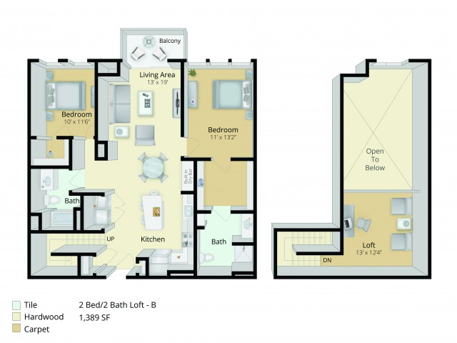B7L Floor Plan | 2 Bedroom with 2 Bath and Loft | 1389 Square Feet | Cottonwood One Upland | Apartment Homes