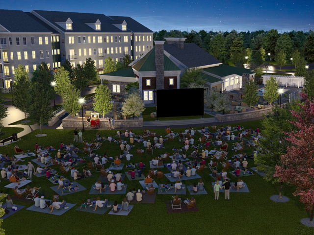 Enjoy Our Movie Nights Under The Stars, With View of Greenspace and  Large Screen at Nightfall at Cottonwood One Upland Apartments