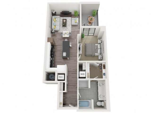 A13 3D Floor Plan | 1 Bedroom with 1 Bath | 875 Square Feet | Sugarmont | Apartment Homes