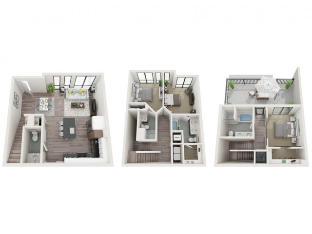 View of Townhome Floorplan with 1st, 2nd, and 3rd Floors Visible