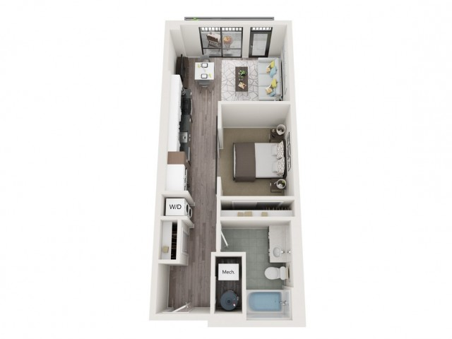 Urban UB1 3D Floor Plan | 1 Bedroom with 1 Bath | 587 Square Feet | Sugarmont | Apartment Homes