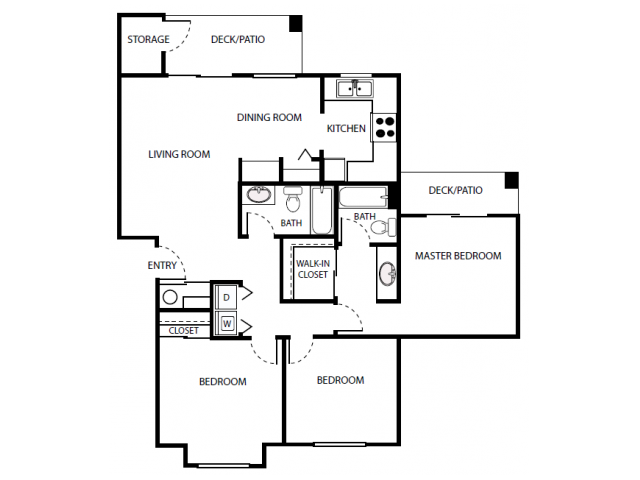 C1r Floor Plan | 3 Bedroom with 2 Bath | 1072 Square Feet | Scott Mountain | Apartment Homes