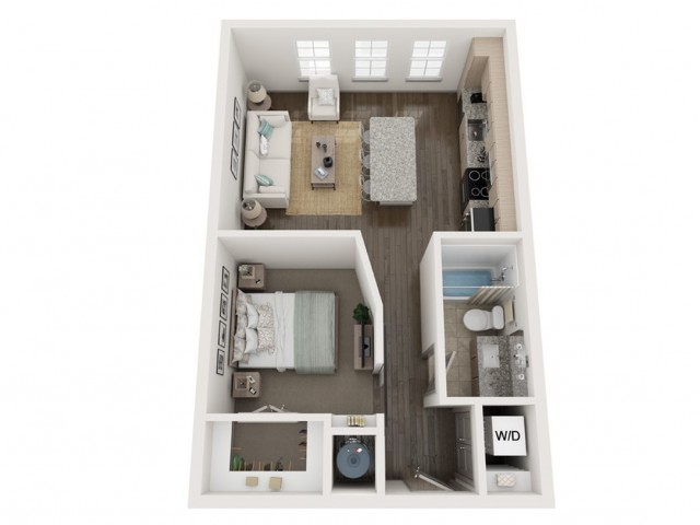 S1 Floor Plan | Studio with 1 Bath | 610 Square Feet | Murano at Three Oaks | Apartment Homes