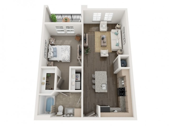 A2 Floor Plan | 1 Bedroom with 1 Bath | 753 Square Feet | Murano at Three Oaks | Apartment Homes