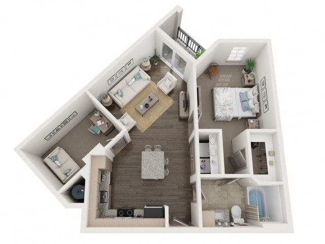 A1 Floor Plan | 1 Bedroom with 1 Bath | 817 Square Feet | Murano at Three Oaks | Apartment Homes