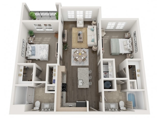 B1 Floor Plan | 2 Bedroom with 2 Bath | 1064 Square Feet | Murano at Three Oaks | Apartment Homes