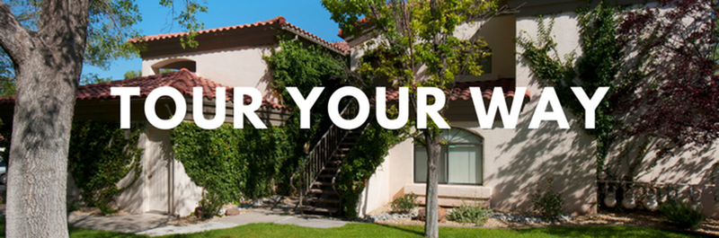 Tour Your Way - View of Building Exterior, Showing Landscaping, Private Patios, and Balconies at Pavilions Apartments