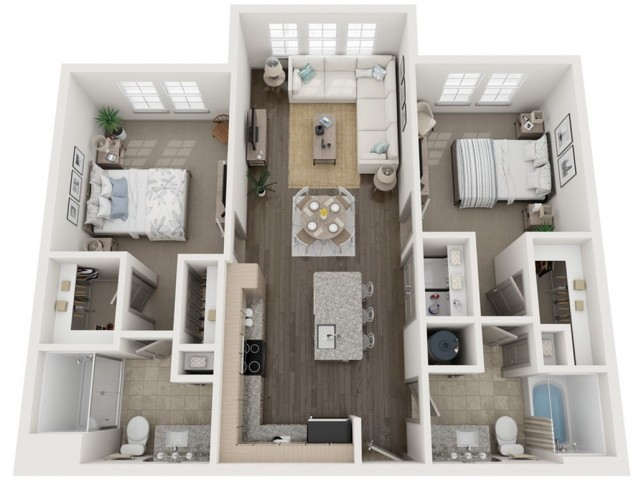 B2 Floor Plan | 2 Bedroom with 2 Bath | 1064 Square Feet | Murano at Three Oaks | Apartment Homes