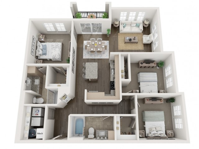 C1 Floor Plan | 3 Bedroom with 2 Bath | 1274 Square Feet | Murano at Three Oaks | Apartment Homes