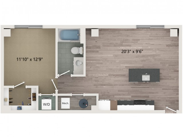 A3 Floor Plan | 1 Bedroom with 1 Bath | 705 Square Feet | Sugarmont | Apartment Homes