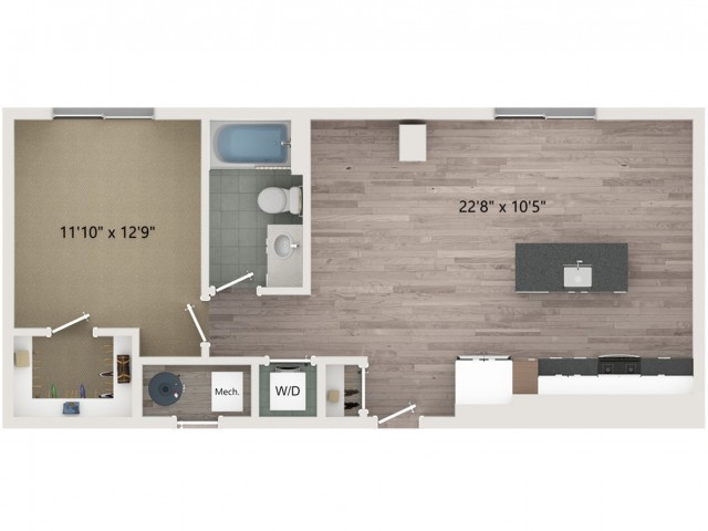 A5 Floor Plan | 1 Bedroom with 1 Bath | 740 Square Feet | Sugarmont | Apartment Homes