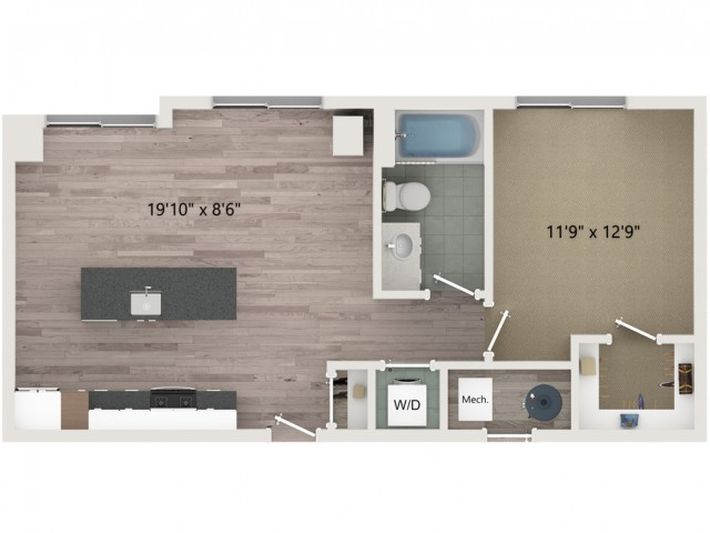 A2 Floor Plan | 1 Bedroom with 1 Bath | 703 Square Feet | Sugarmont | Apartment Homes