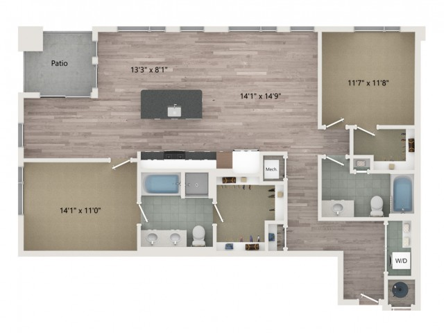B10 Floor Plan | 2 Bedroom with 2 Bath | 1315 Square Feet | Sugarmont | Apartment Homes
