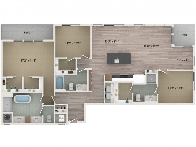 Penthouse C3 Floor Plan | 3 Bedroom with 3 Bath | 1751 Square Feet | Sugarmont | Apartment Homes