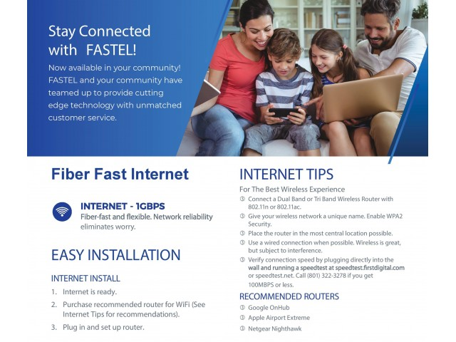 Fastel Internet Flyer with Information on Service at Sugarmont Apartments