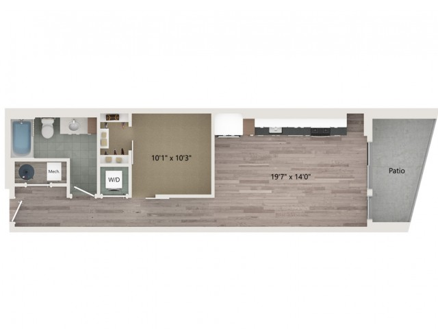 Urban UB2 ALT 2 Floor Plan | 1 Bedroom with 1 Bath | 709 Square Feet | Sugarmont | Apartment Homes