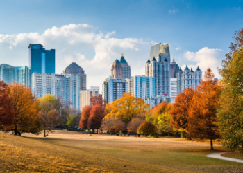 Piedmont Park is an urban park in Atlanta, Georgia, located about 1 mile northeast of Downtown, between the Midtown and Virginia Highland neighborhoods. at Tabernacle