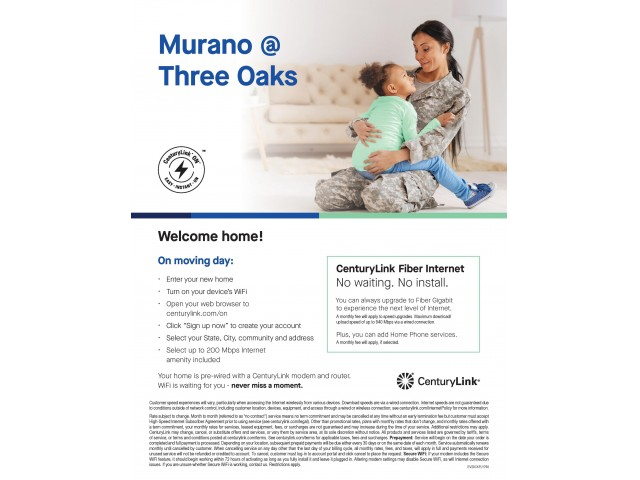 More information in snapshot view on the internet amenity at Murano at Three Oaks; inquire for more details