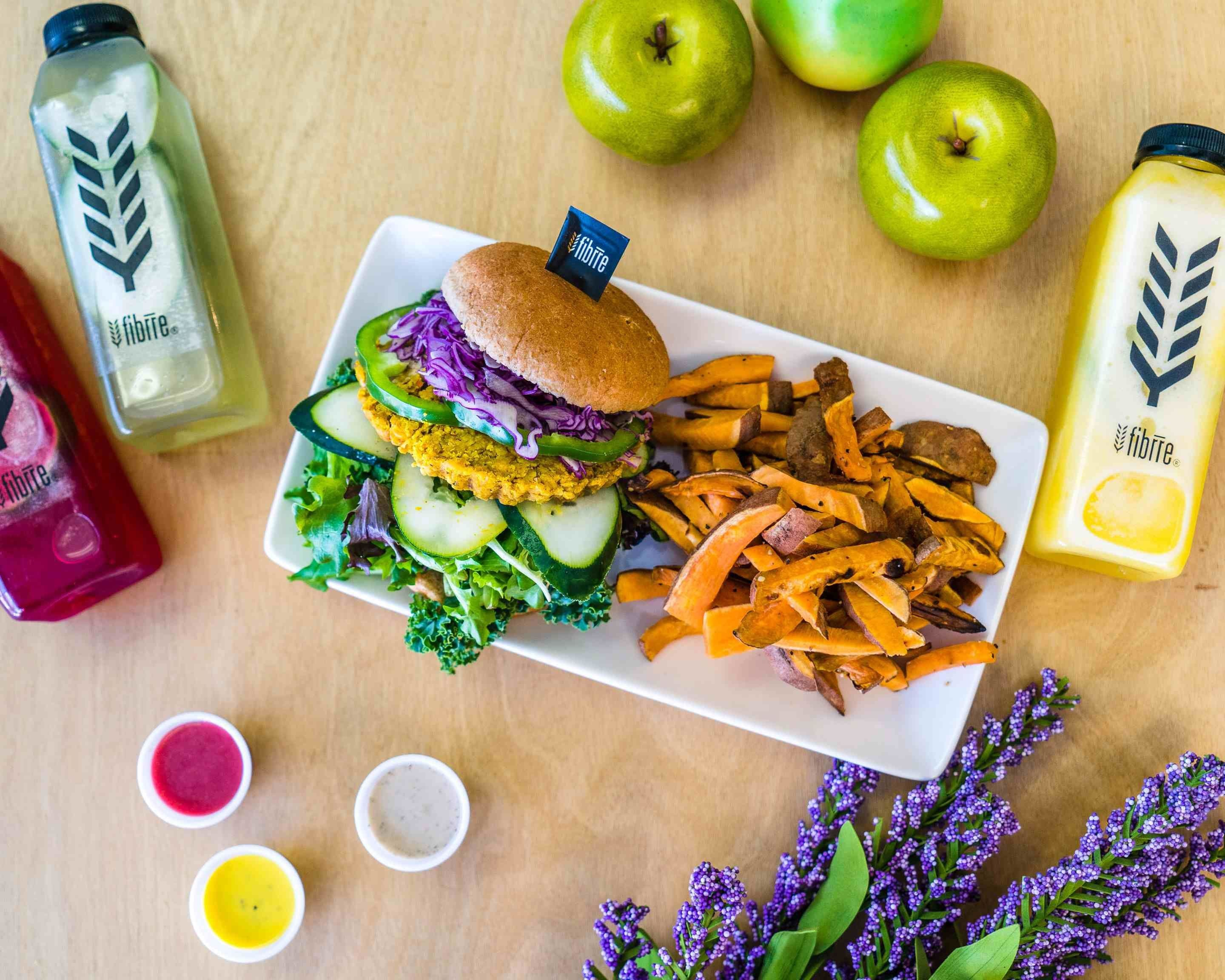 This vibrant one-of-a-kind eatery provides colorful plant-based meals featuring tasty and unique protein sources. Fibrre focuses on providing healthy food so you can nourish and fuel your body. Stop by for a delicious smoothie, a customer favorite meal box, or a hand-crafted burger! at Fibrre