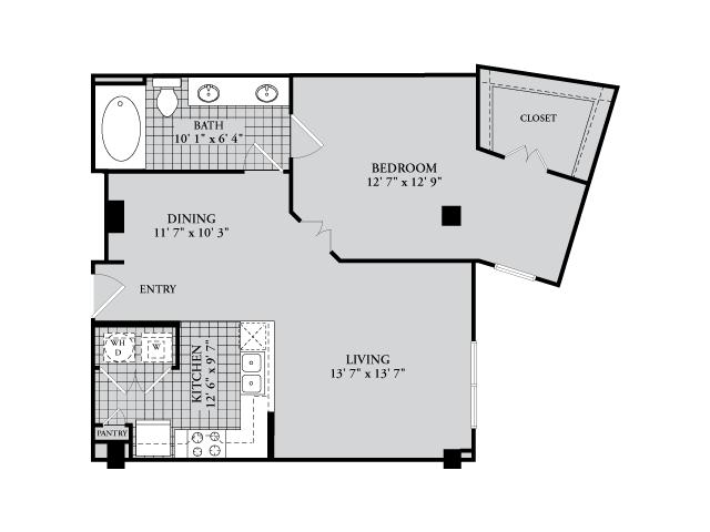 A7 Floor Plan | 1 Bedroom with 1 Bath | 843 Square Feet | McKinney Uptown | Apartment Homes