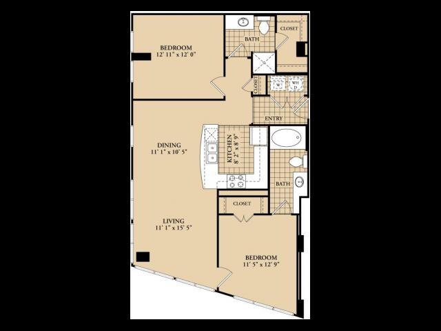 B1 Floor Plan   2 Bedroom with 2 Bath   1034 Square Feet   McKinney Uptown   Apartment Homes