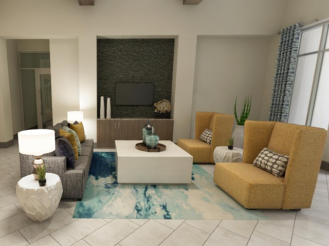 View of Leasing Office Social Space in Lobby, Showing Lobby Area with Seating Space and Designer Accents at Murano at Three Oaks Apartments