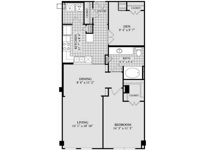 A9 Floor Plan | 1 Bedroom with 1 Bath | 934 Square Feet | McKinney Uptown | Apartment Homes