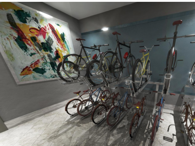 Image showing bikes hanging on wall for indoor storage.
