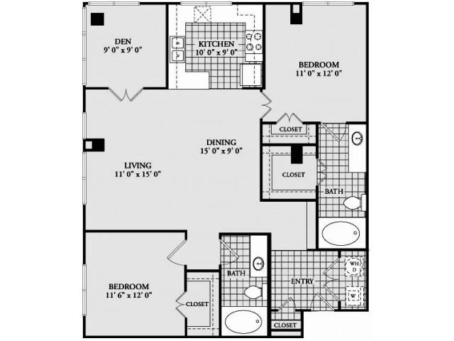 B7 Floor Plan | 2 Bedroom with 2 Bath | 1242 Square Feet | McKinney Uptown | Apartment Homes