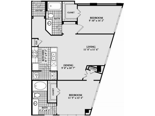 B3 Floor Plan | 2 Bedroom with 2 Bath | 1086 Square Feet | McKinney Uptown | Apartment Homes